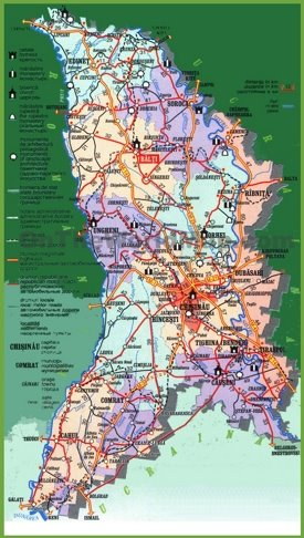 Moldova tourist map