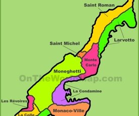 Administrative divisions map of Monaco