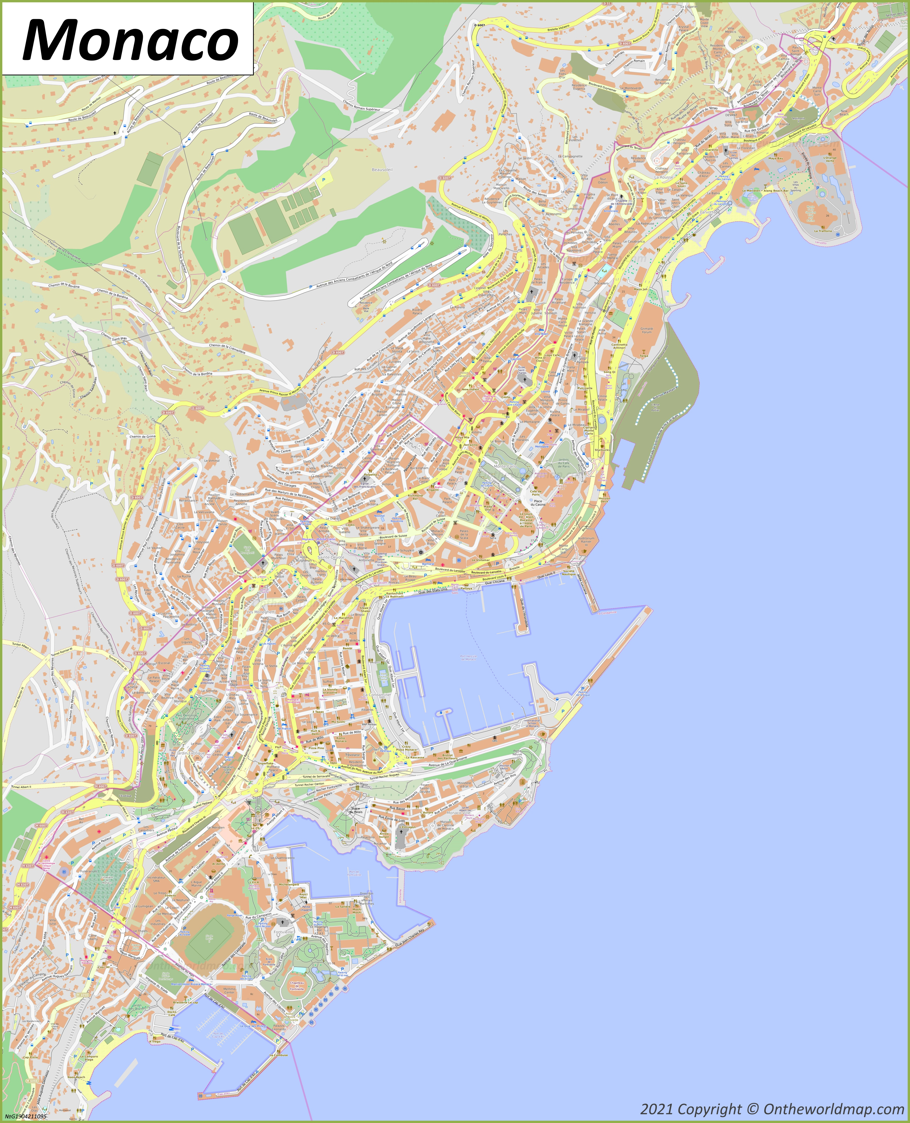 Detailed Map of Monaco