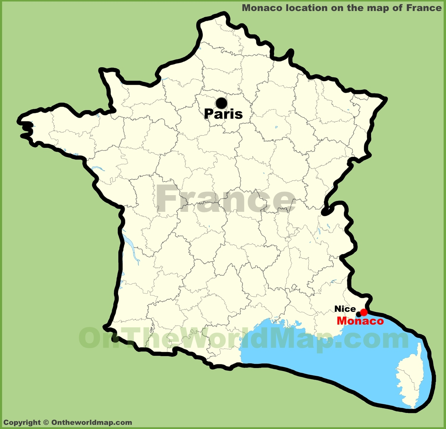 monaco location on the map of france