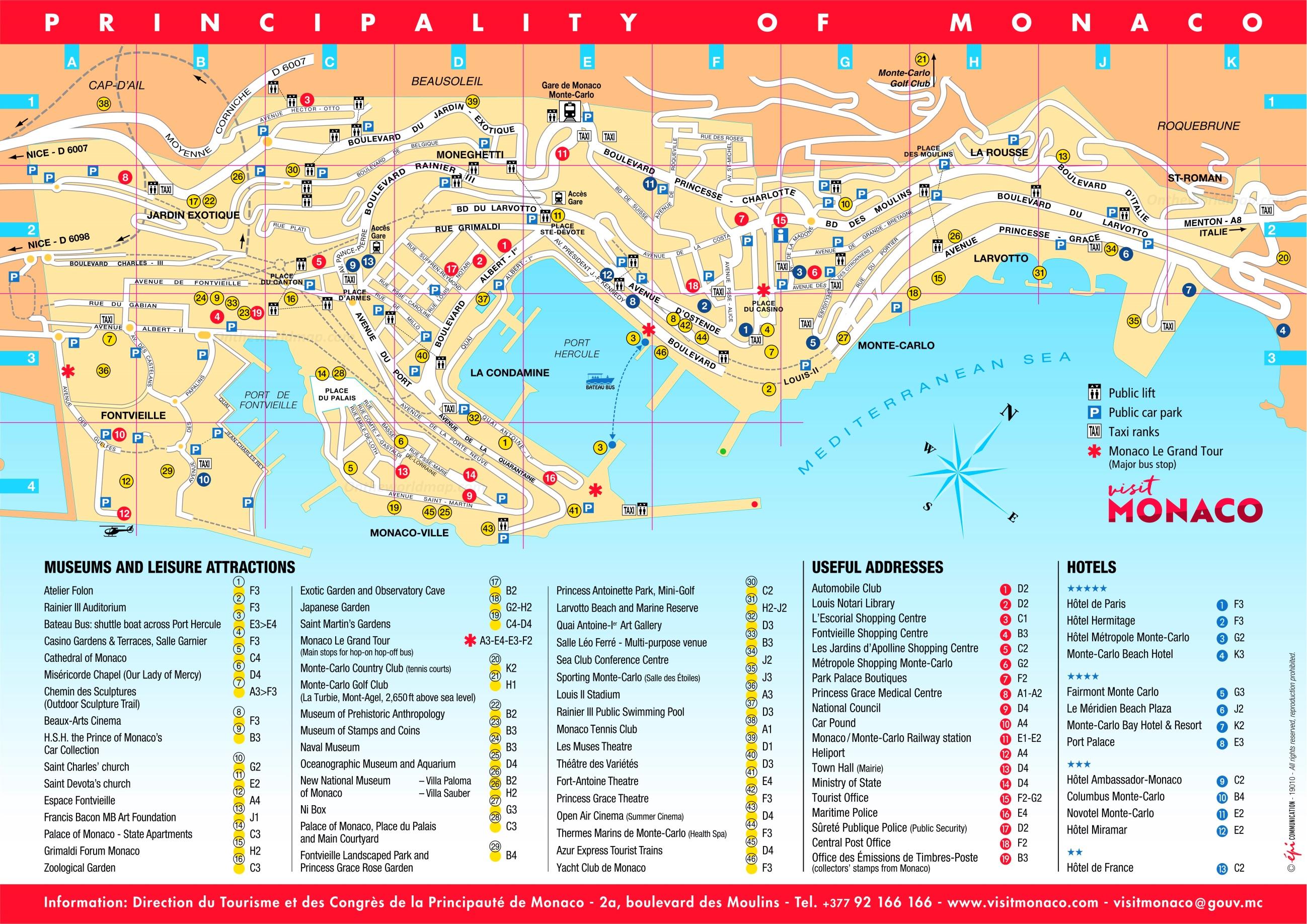 Monaco Italien Karte.Monaco Stadtplan Mit Sehenswurdigkeiten Zum Download Planative