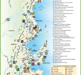 Travel map of Monaco with hotels and points of interest