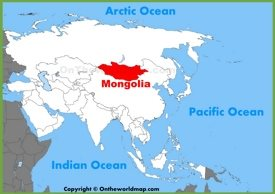 Mongolia location on the Asia map