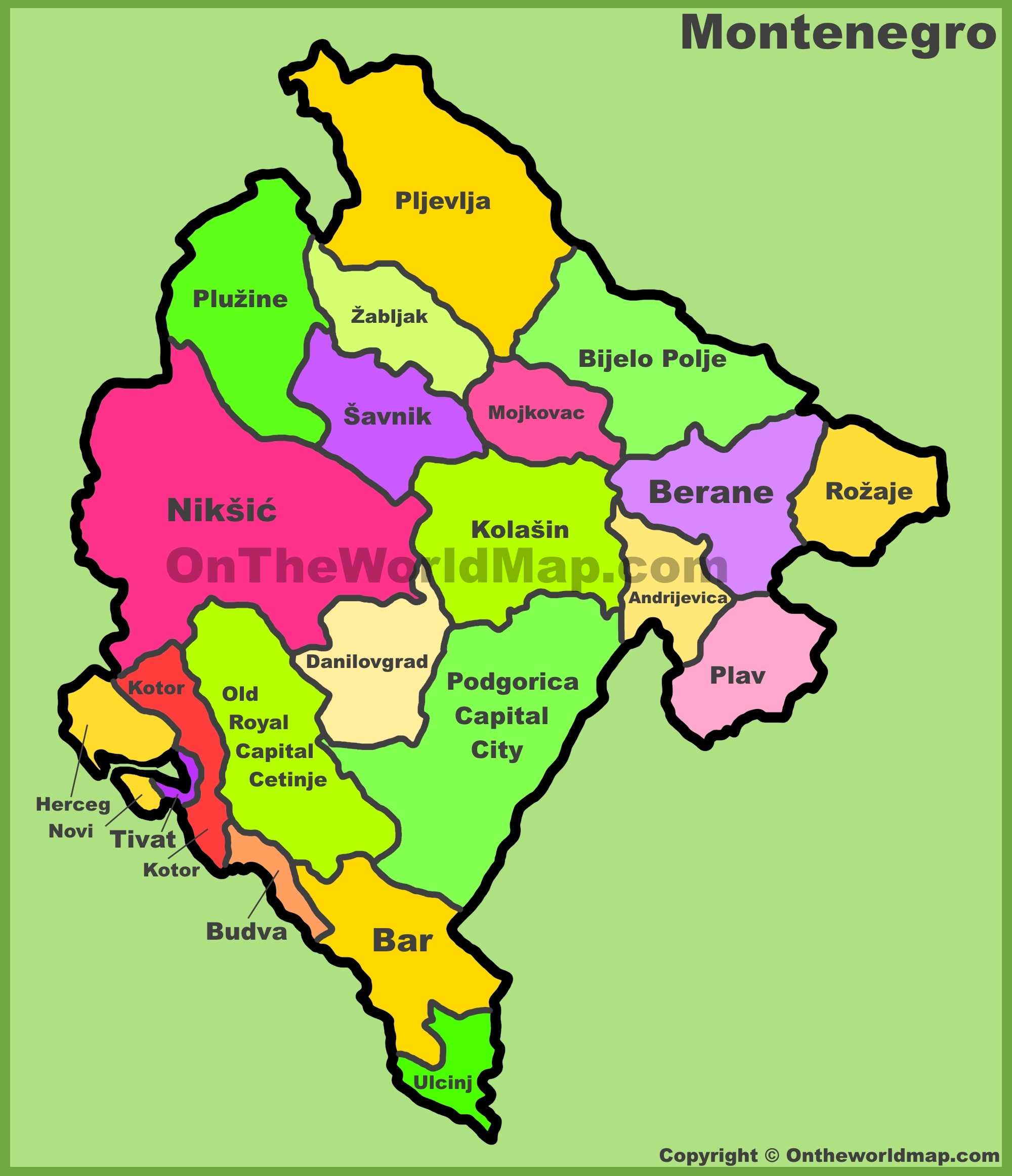 Map Divisions Montenegro Of Administrative