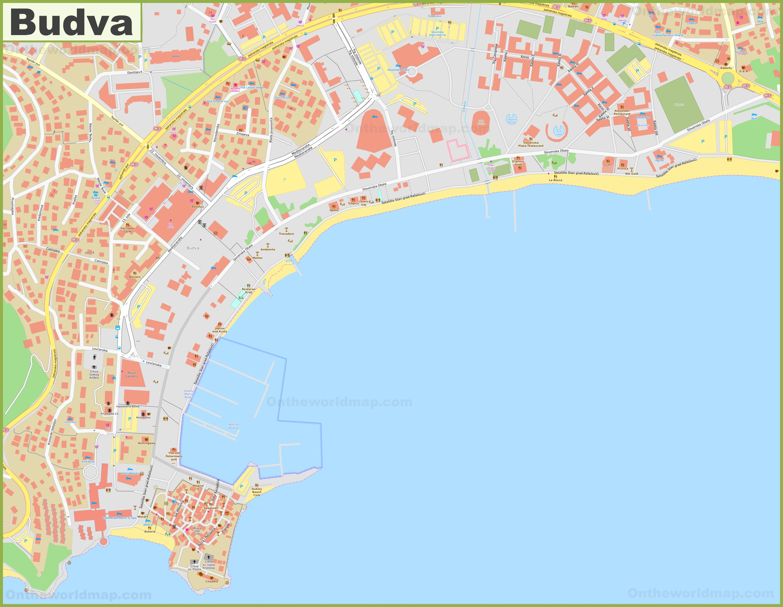 Budva City Center Map
