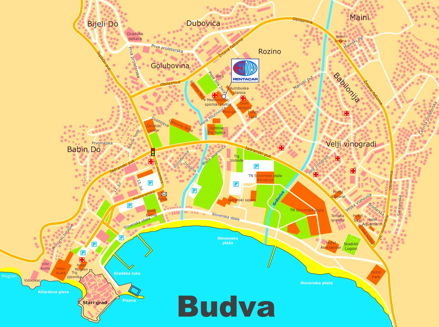 Budva Tourist Map