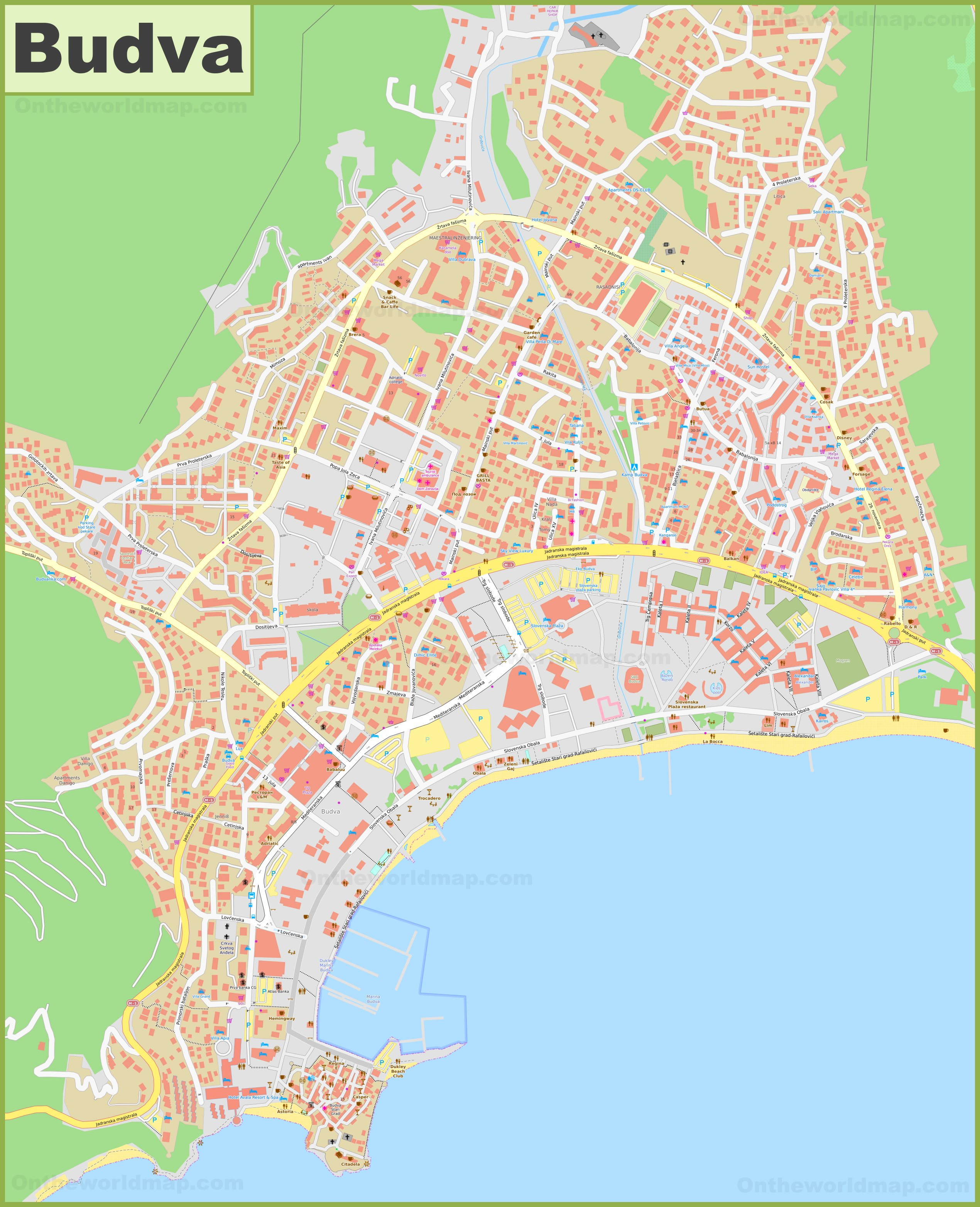 Large Detailed Map Of Budva