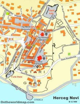 Herceg Novi Old Town map