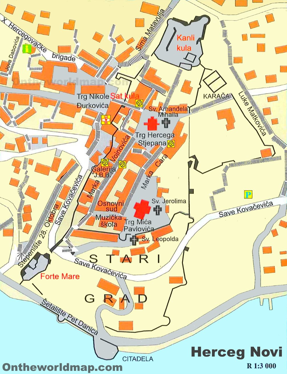 Herceg Novi Old Town Map