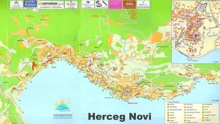 Herceg Novi tourist map