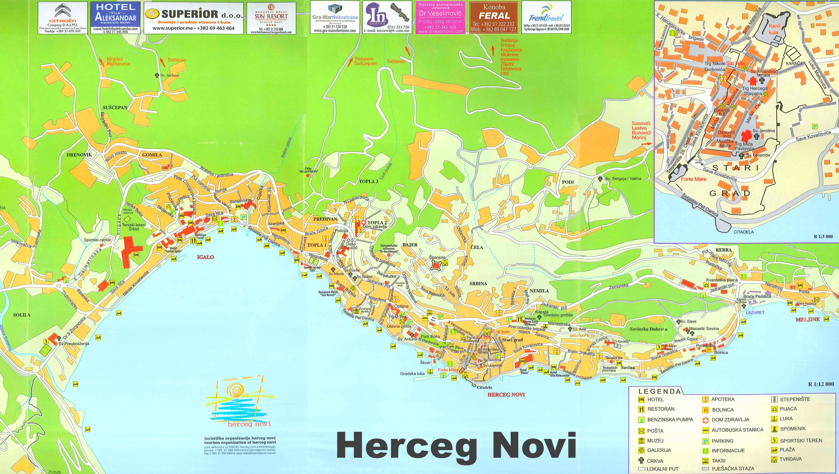 Herceg Novi Tourist Map