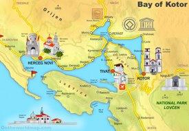 Bay of Kotor tourist map