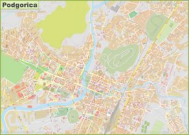 Large detailed map of Podgorica
