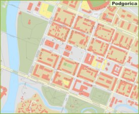 Podgorica city center map
