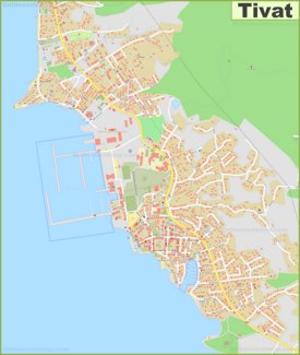 Large detailed map of Tivat