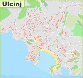 Large detailed map of Ulcinj