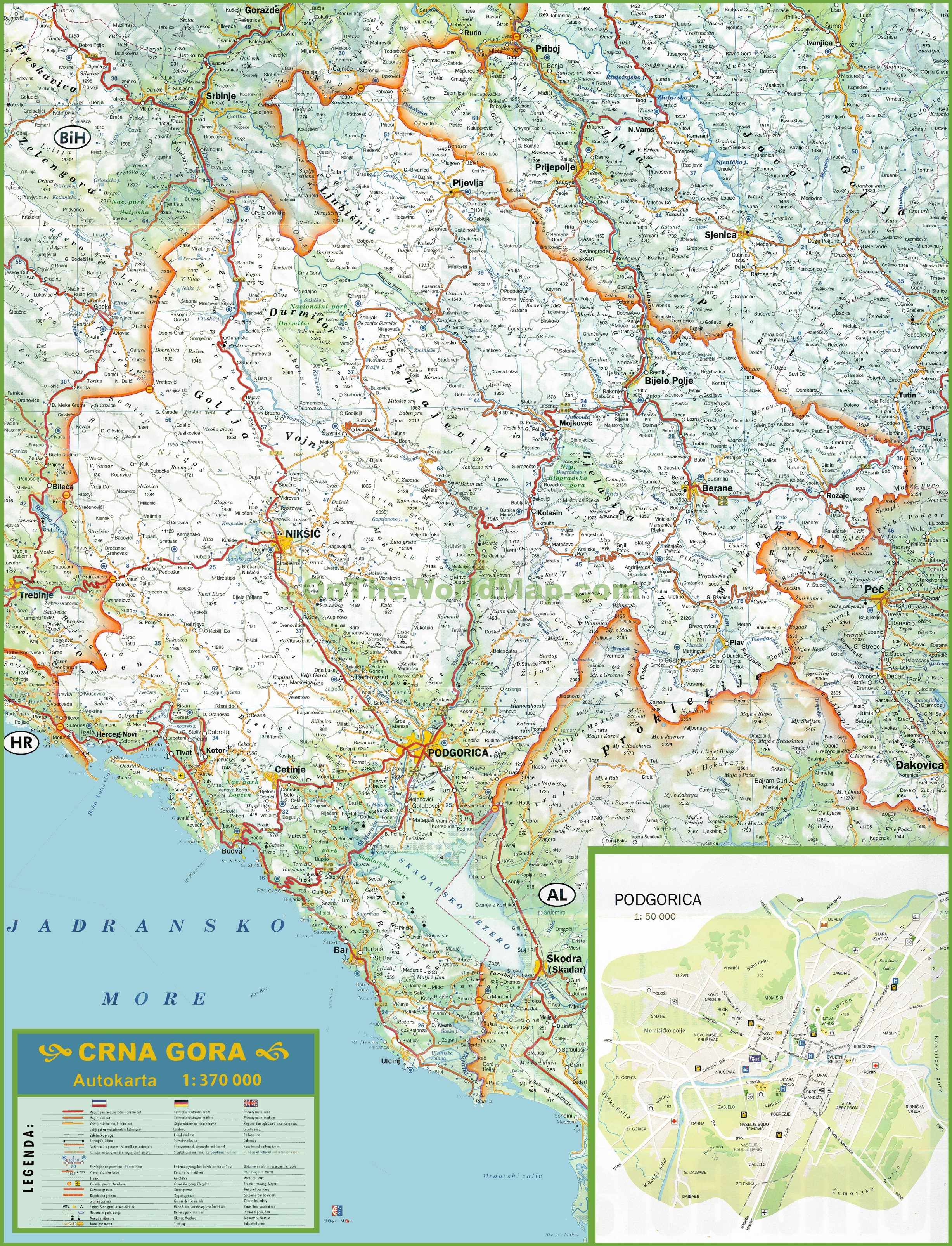 Large Detailed Map Of Montenegro With Cities And Towns - Montenegro maps with countries