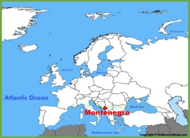 Montenegro location on the Europe map