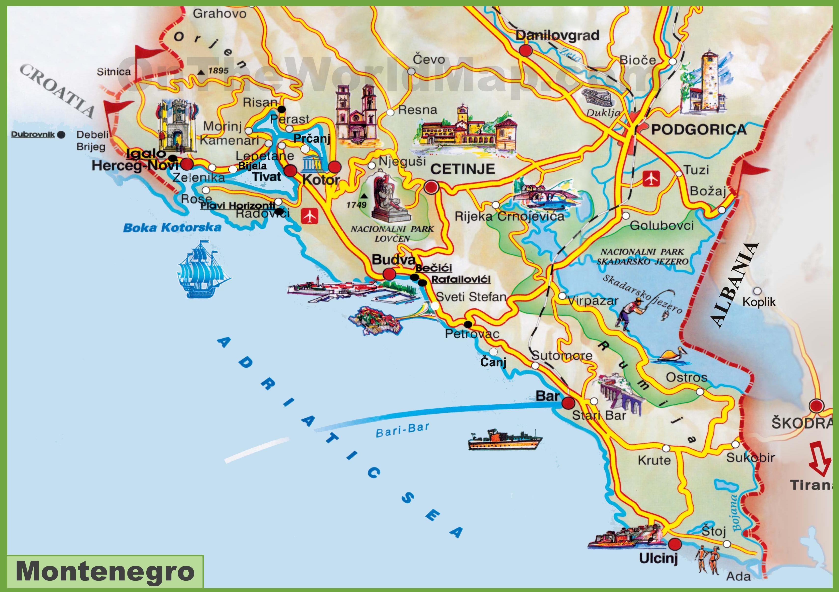 Montenegro sea coast map