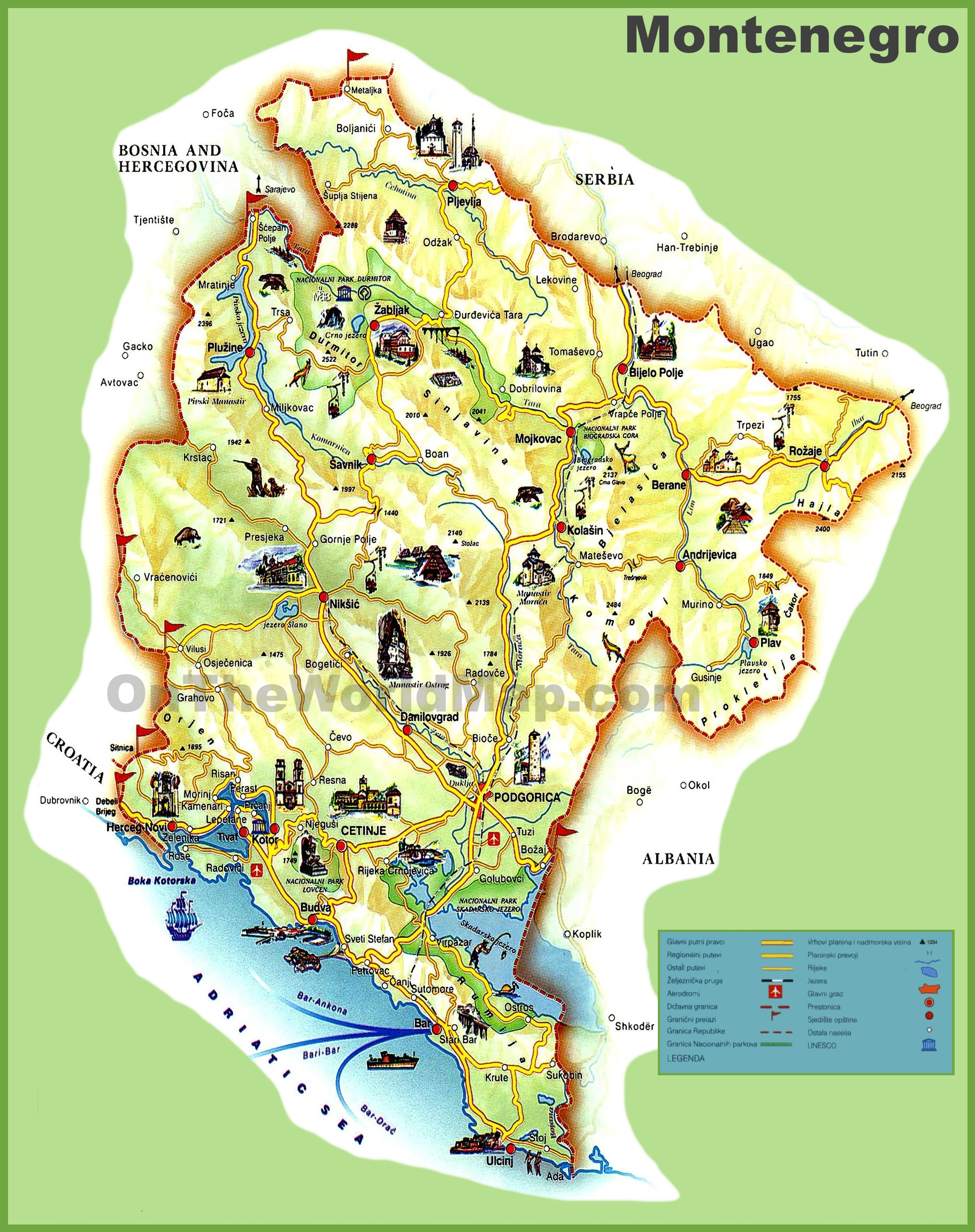 Montenegro Maps Maps of Montenegro
