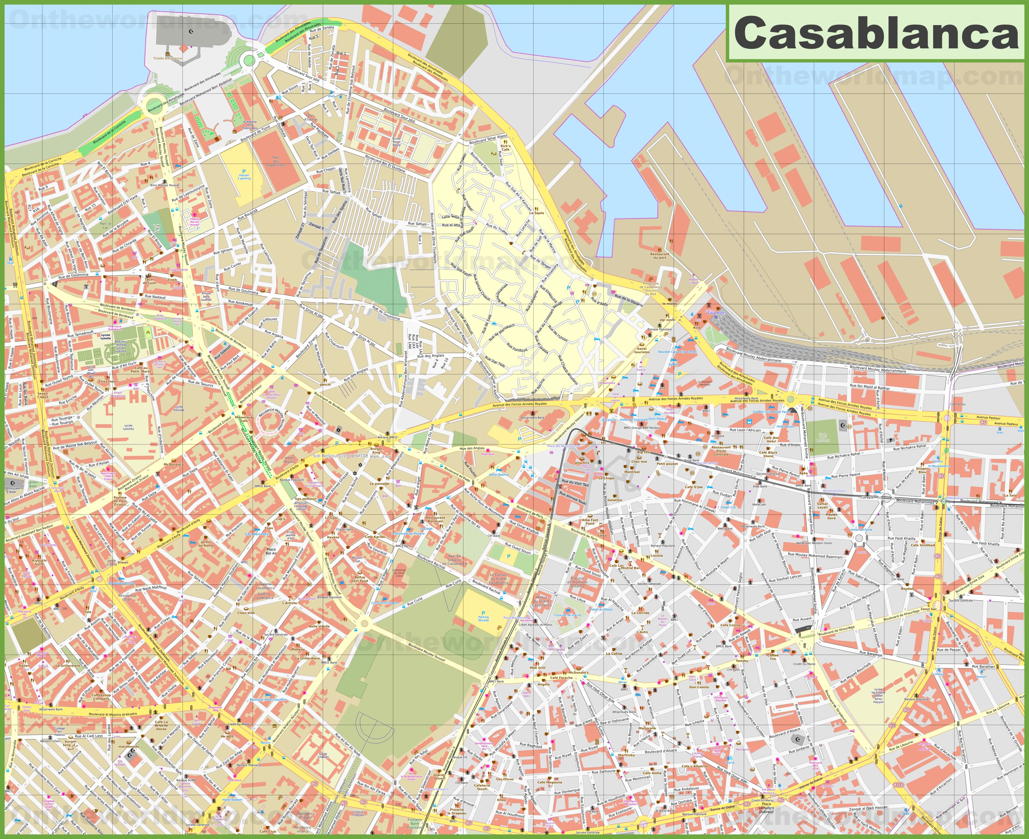 Casablanca city center Map on