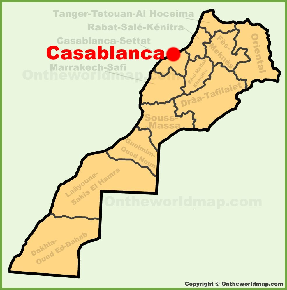 Casablanca location on the Morocco map