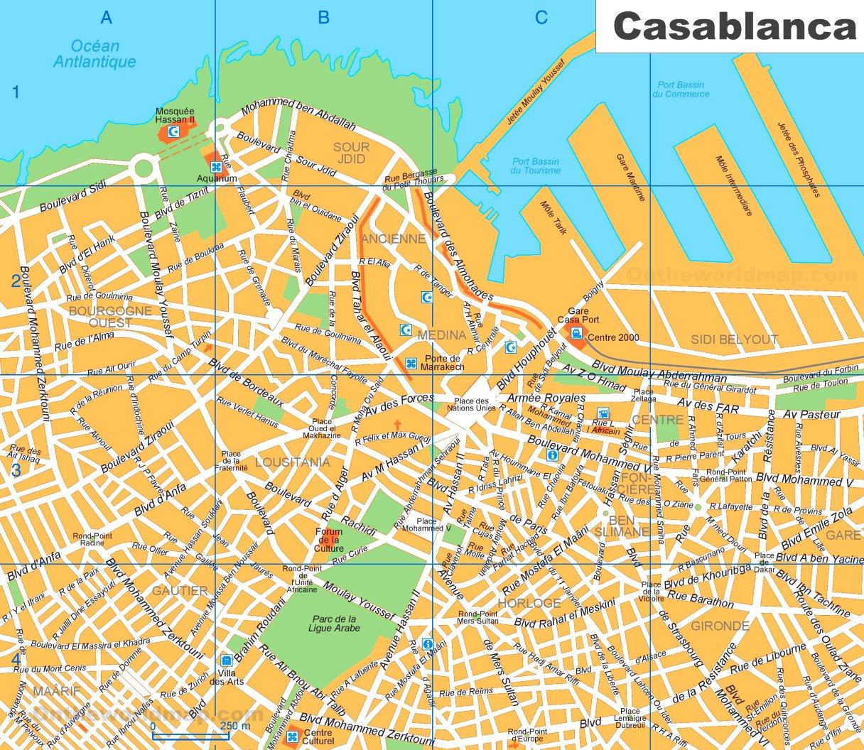 Casablanca sightseeing map on johannesburg map, key largo map, algeria map, timbuktu map, potsdam map, dubai map, morocco map, tripoli map, western sahara map, marrakesh map, marrakech map, africa map, algiers map, dar es salaam map, cape town map, damascus map, accra map, salerno map, oran map, lima map,