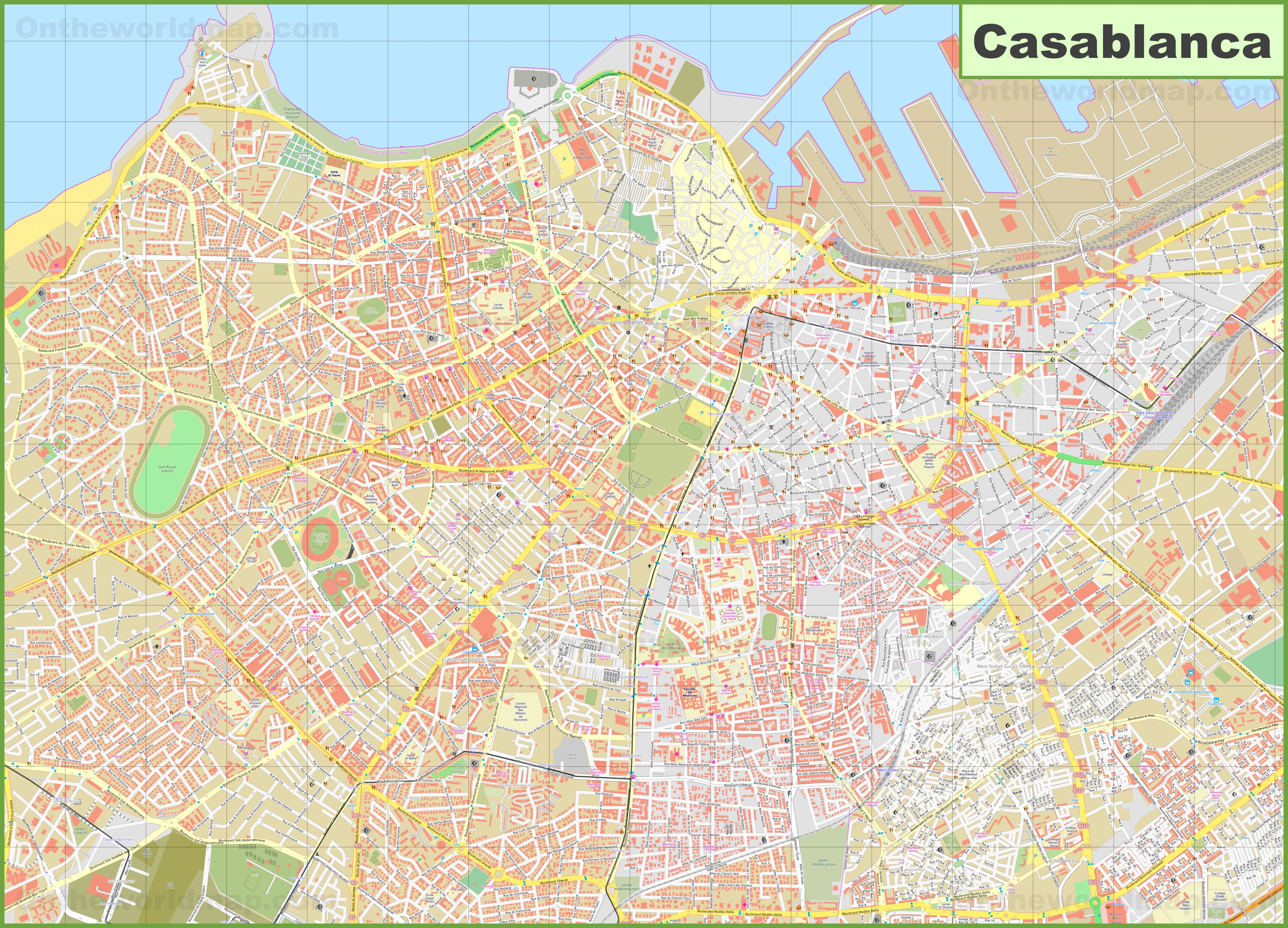 Detailed map of Casablanca on