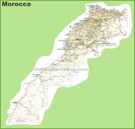 Large detailed map of Morocco with cities and towns