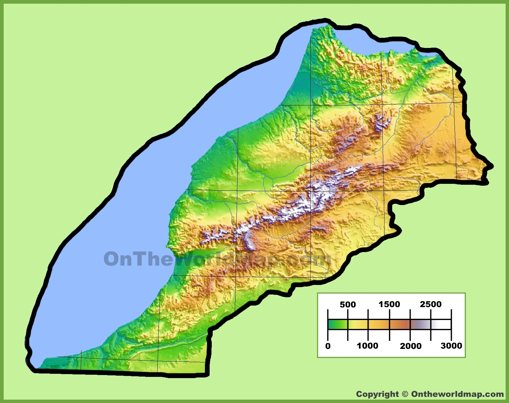 Physical Map Of Morocco Morocco physical map