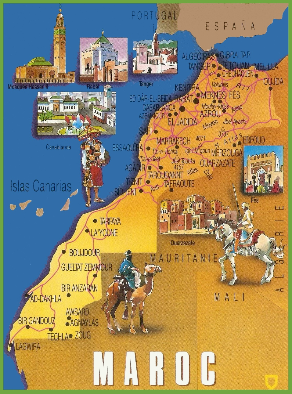 {Morocco tourist map – Morocco Tourist Map