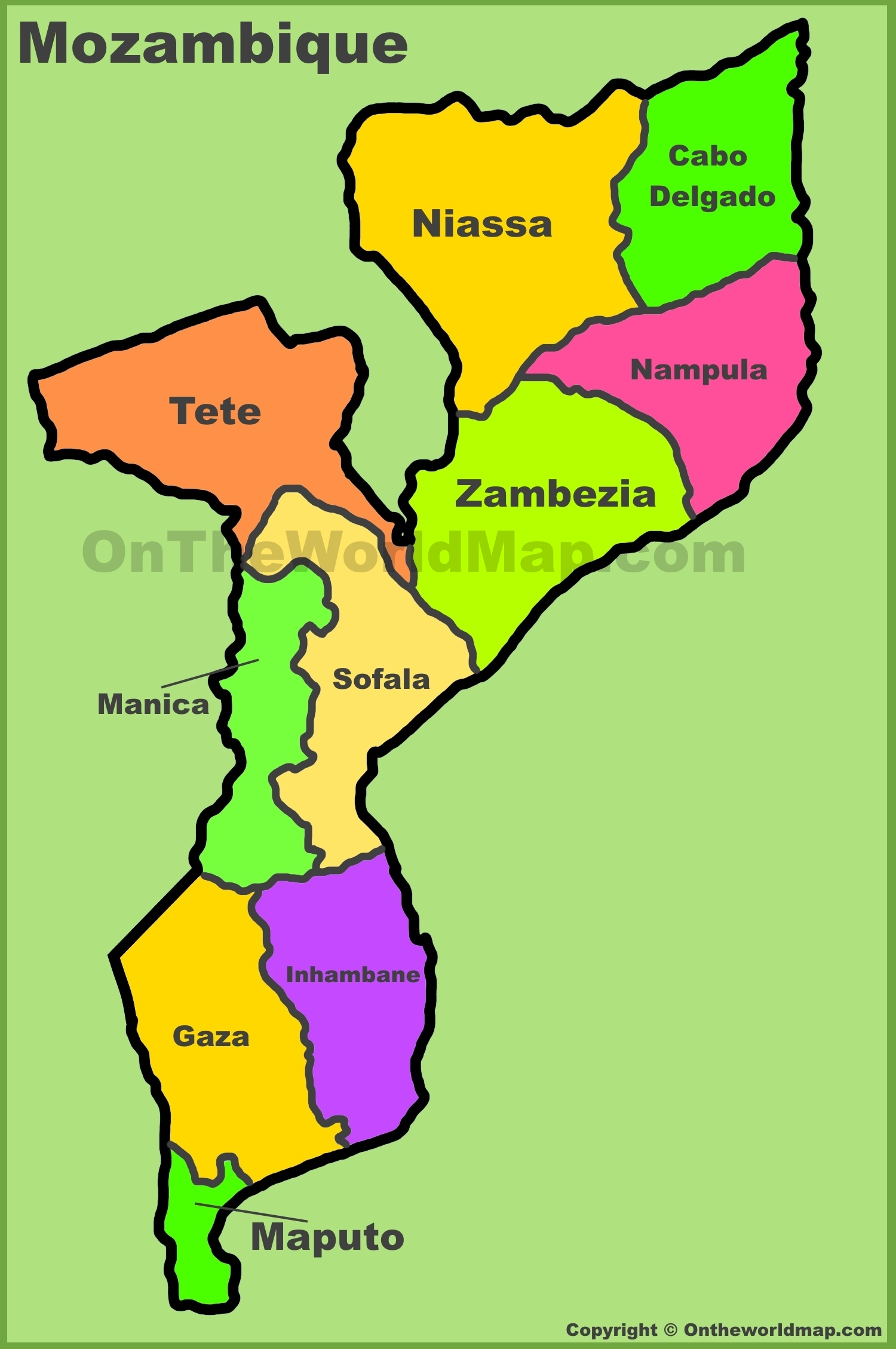 Administrative divisions map of Mozambique