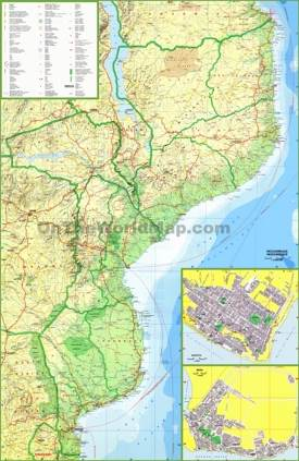 Large detailed map of Mozambique