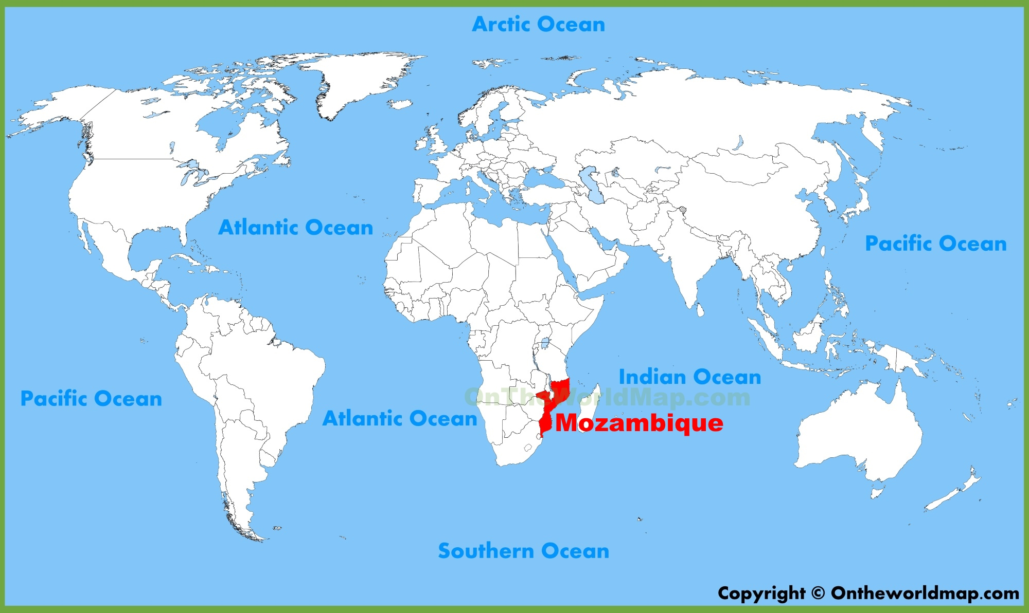 Mozambique location on the world map sciox Choice Image