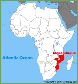 Mozambique location on the Africa map