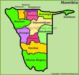 Administrative divisions map of Namibia