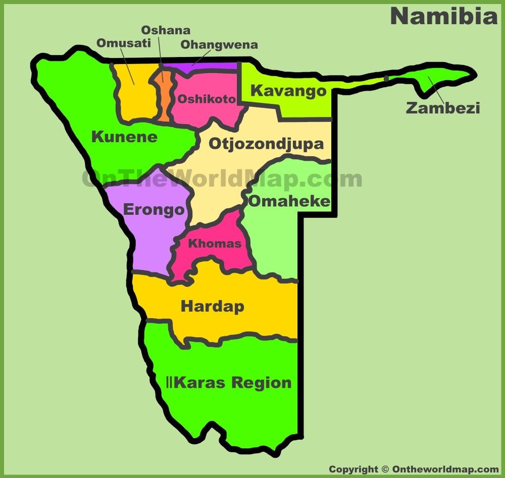 Map Of Namibia Administrative divisions map of Namibia