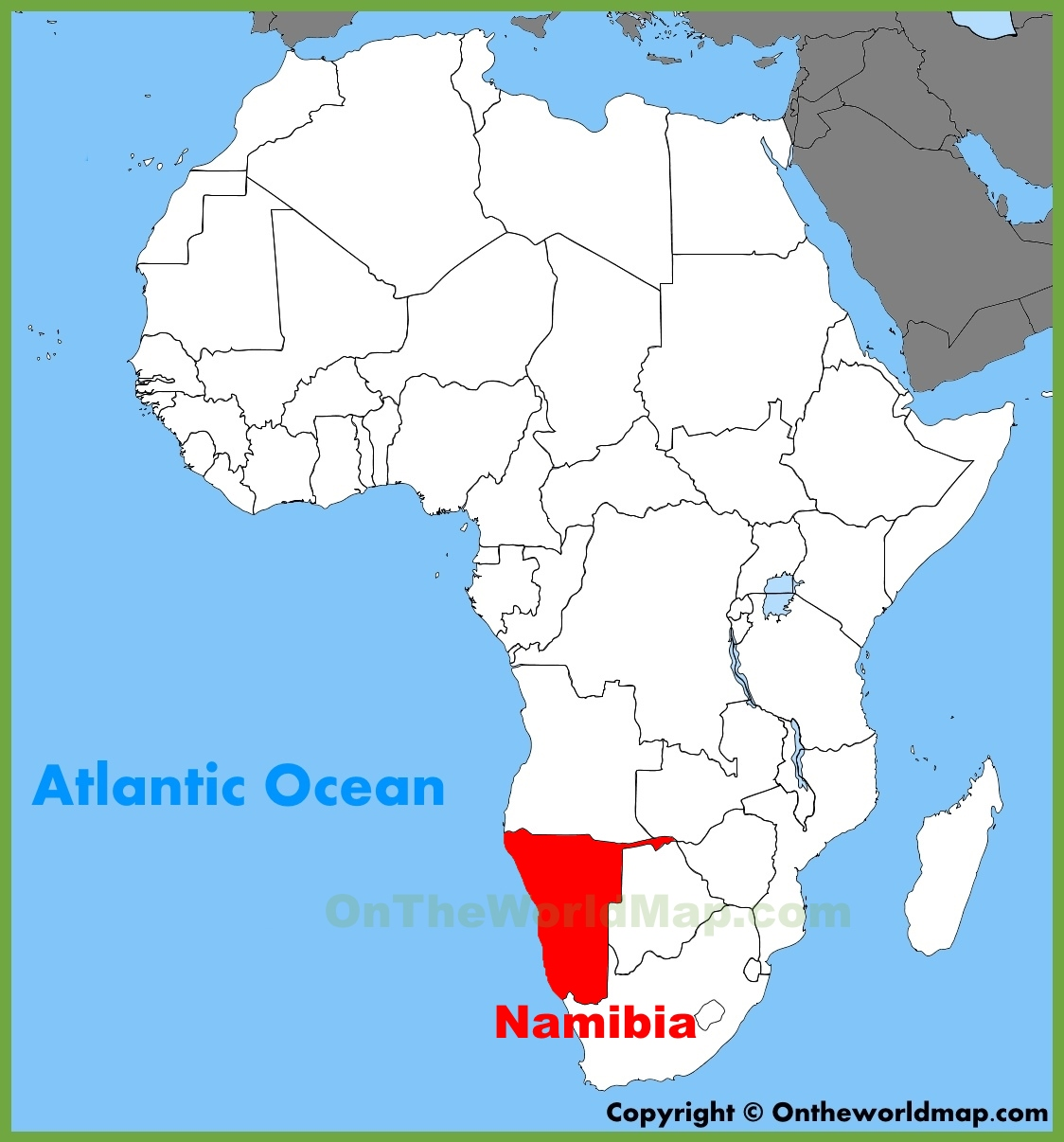 Namibia On Africa Map.Namibia Location On The Africa Map