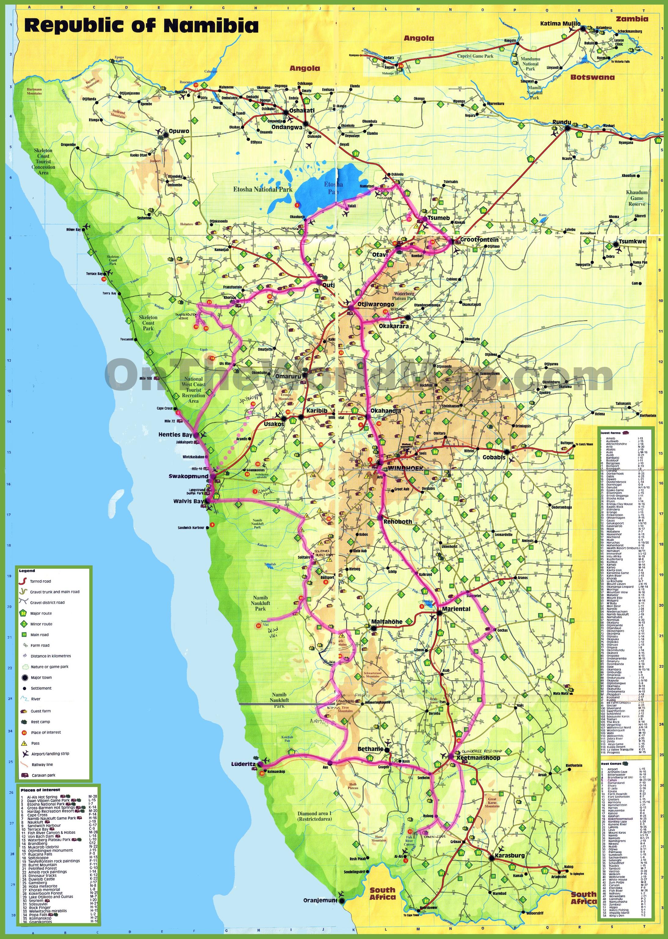 Namibia tourist map