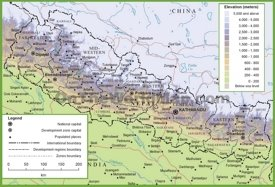 Nepal physical map