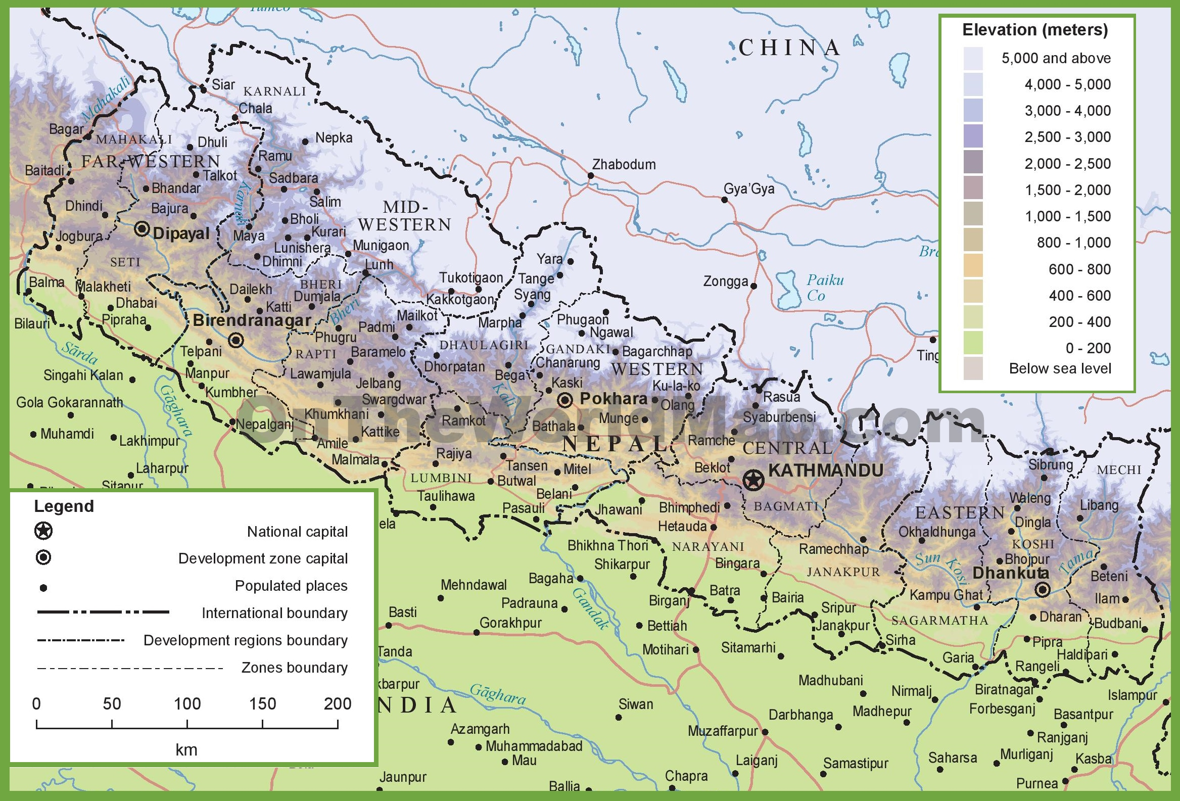 Nepal physical map sciox Images
