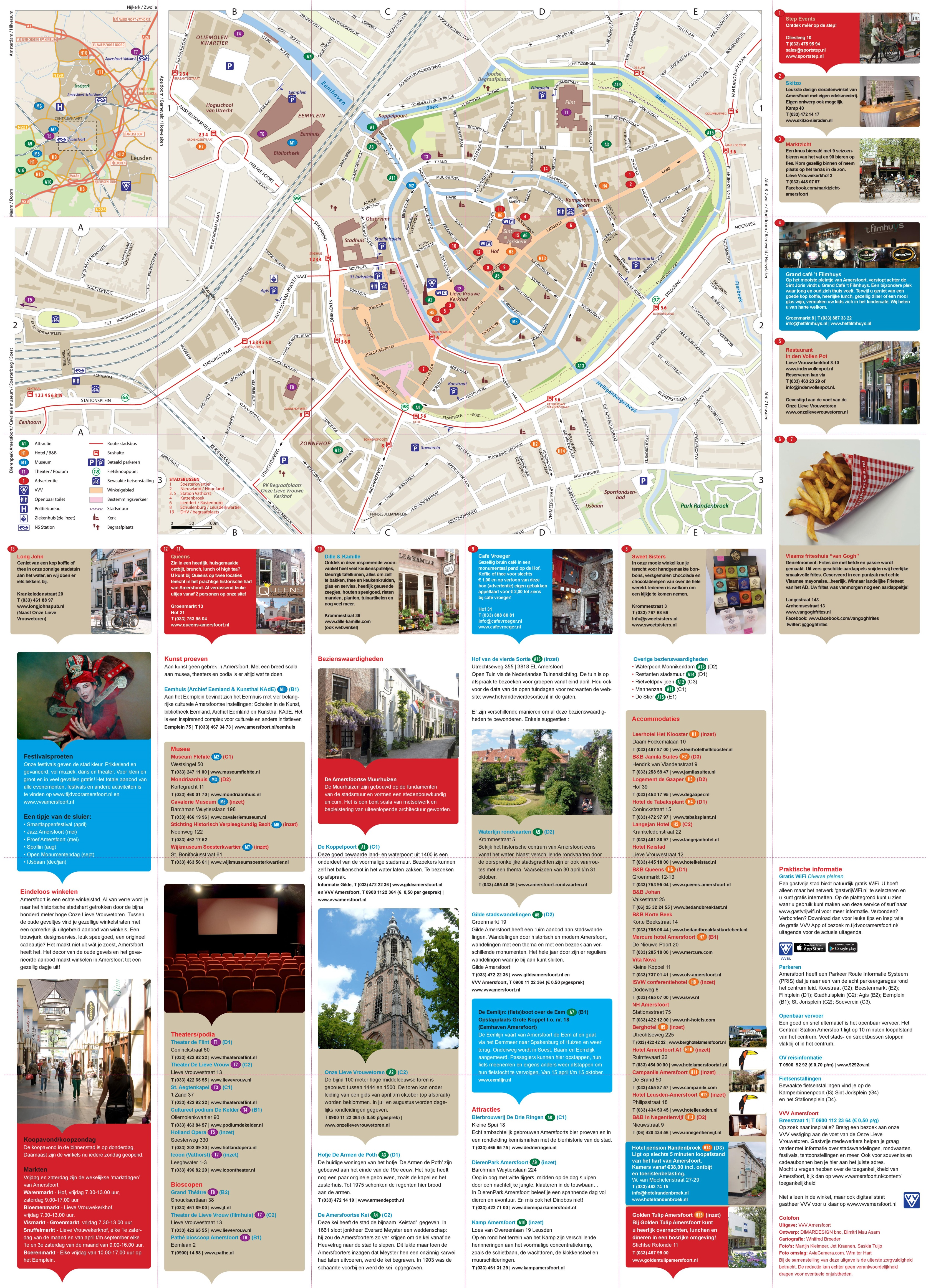 Large detailed tourist map of Amersfoort