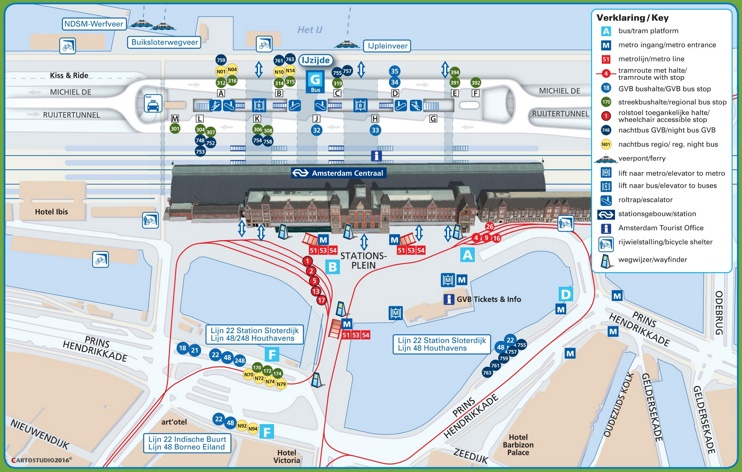 Amsterdam central station map