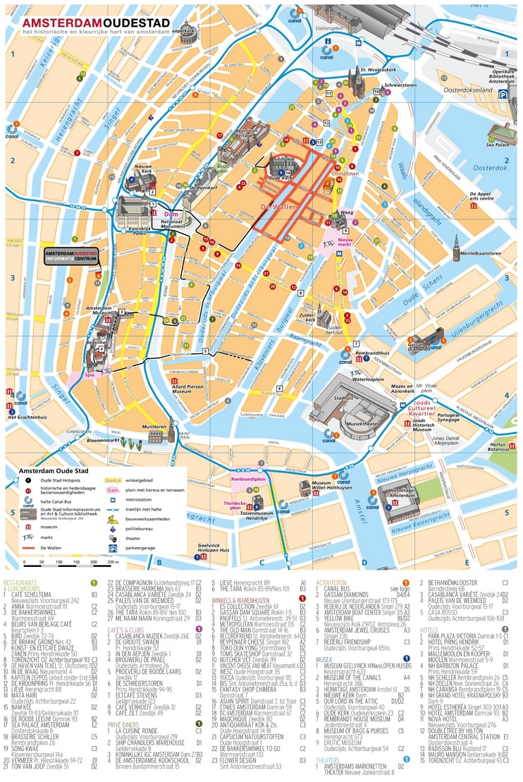 Amsterdam hotels and sightseeings map