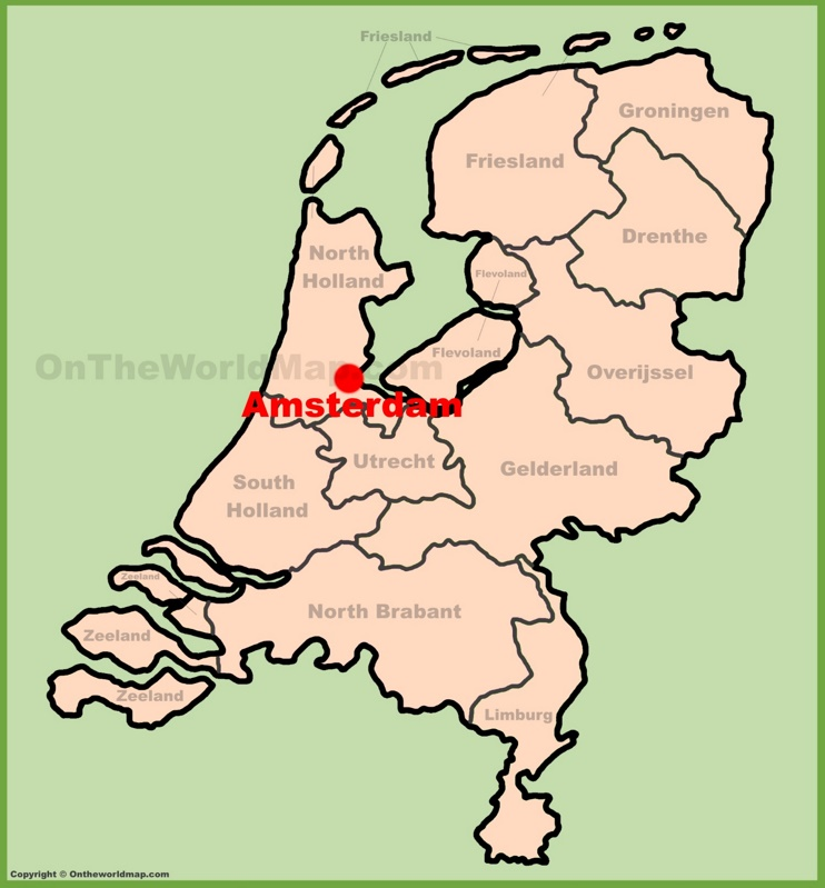 Amsterdam location on the Netherlands map