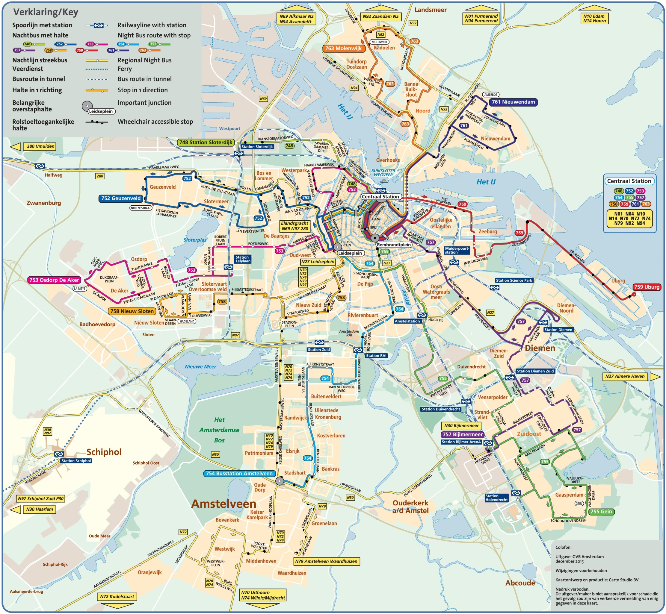 Amsterdam night bus map