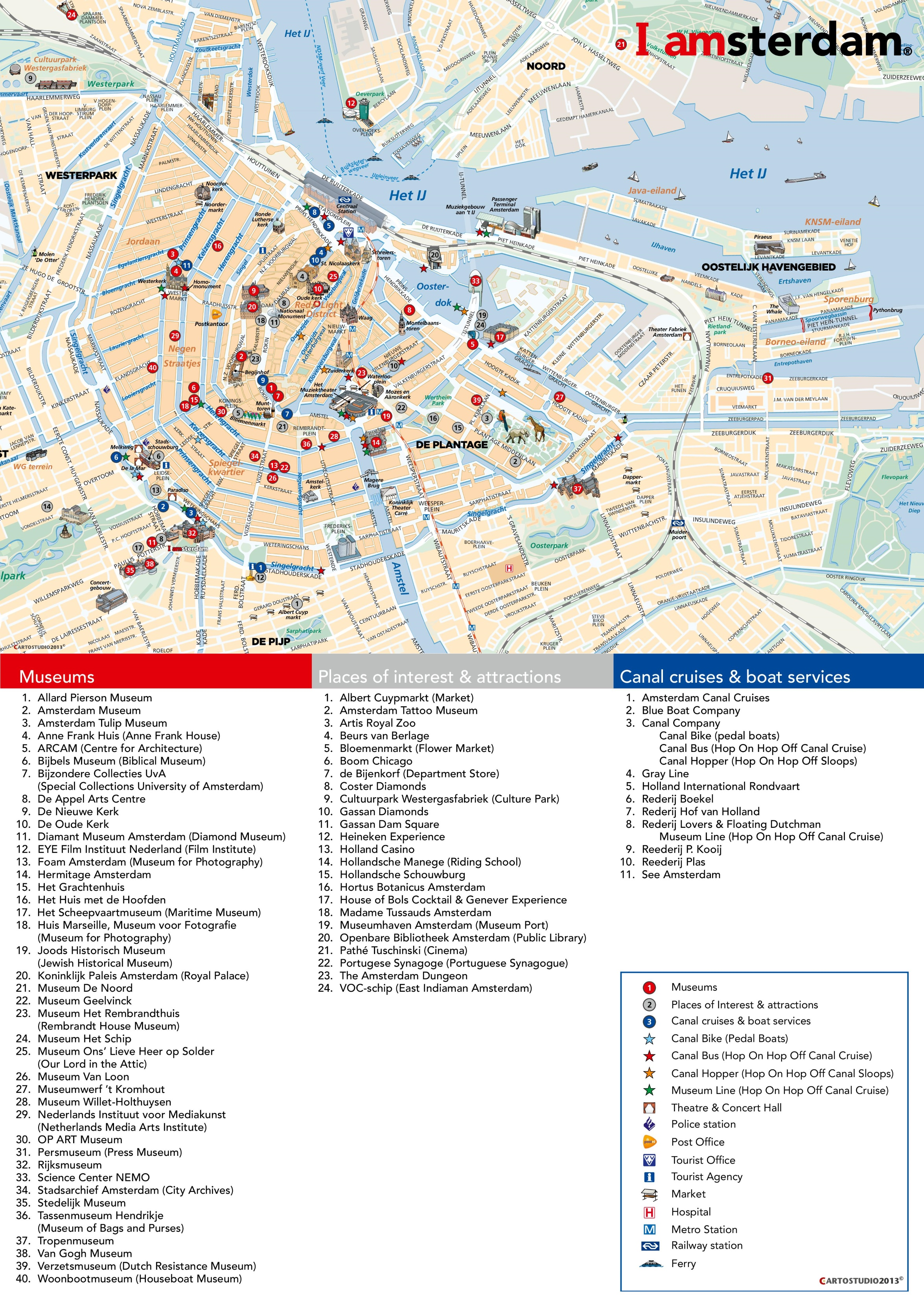 Amsterdam tourist attractions map – Amsterdam Tourist Map