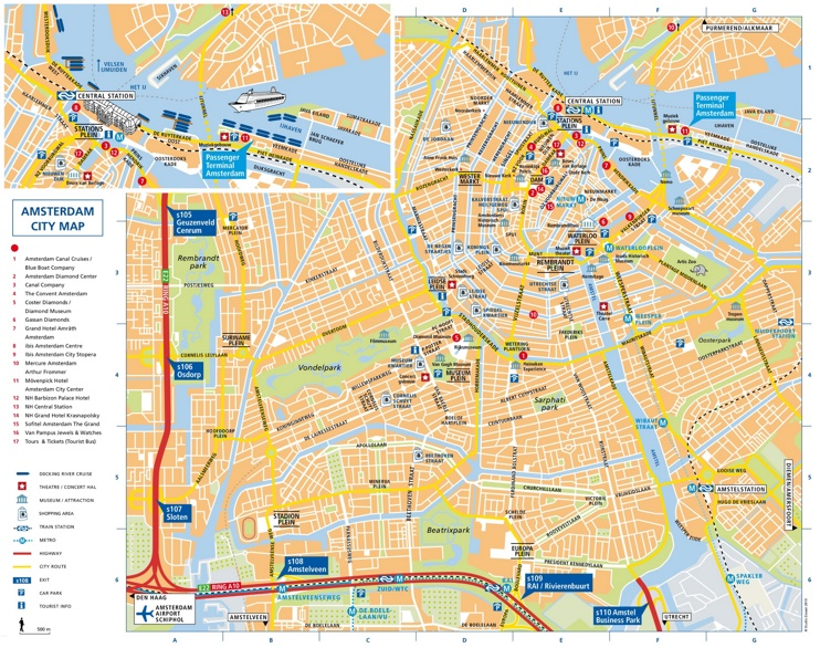 Amsterdam tourist map
