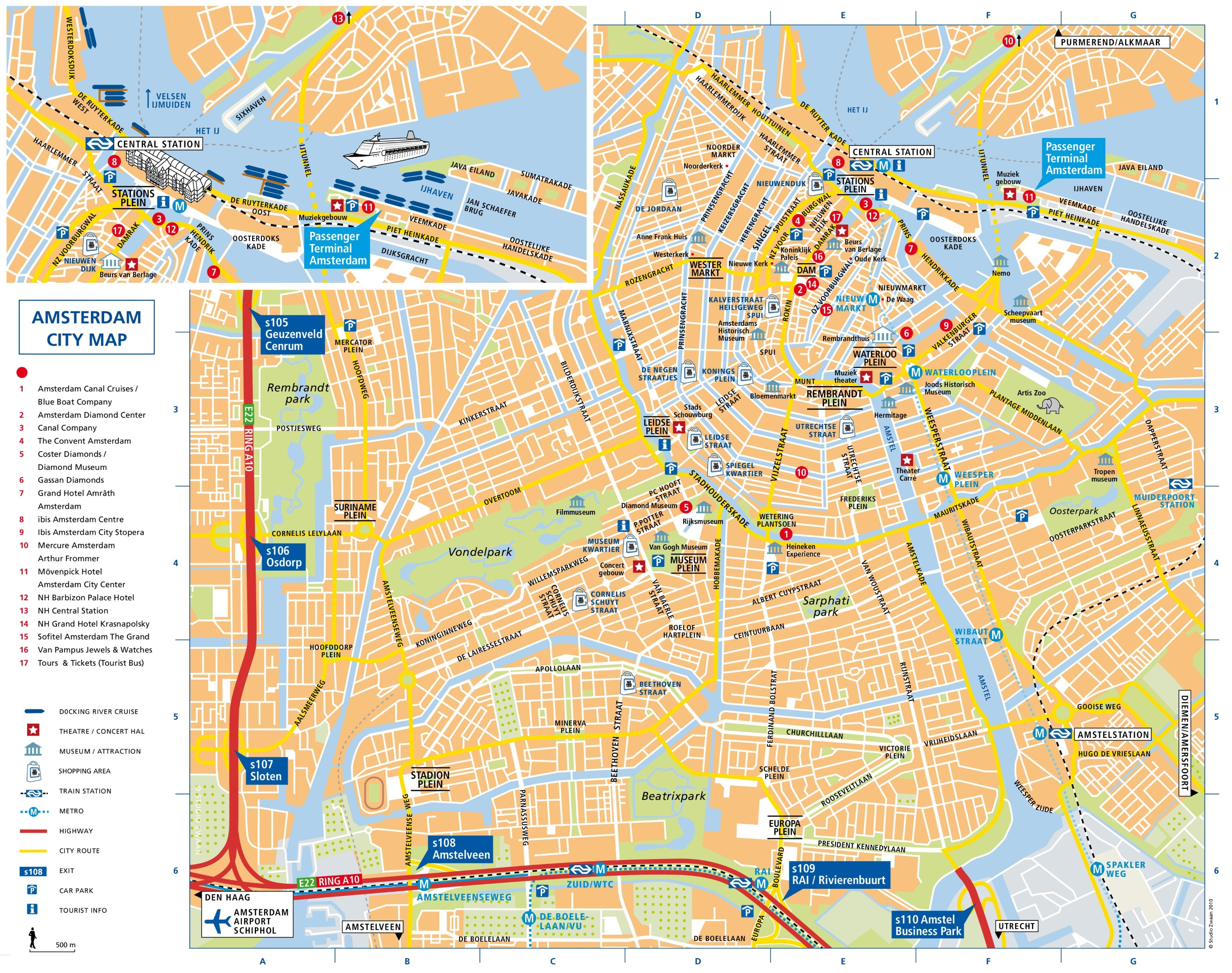 Amsterdam Maps Netherlands – Tourist Attractions Map In Amsterdam