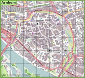 Arnhem city center map